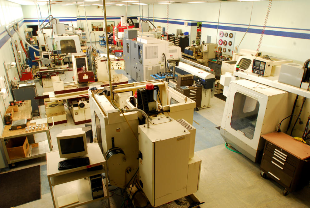 AAE's 4,000 sq. ft. CNC Machining room with ten machining centers.